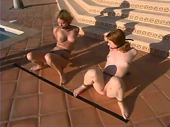 Cute Girls Get BDSM Torture Outdoors in a Big Fancy House