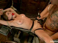 Lovely hottie Tiffany gets tied up and pinned in her cave
