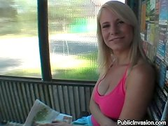 Nice blondie sucks gets fucked and facialed at the bus stop