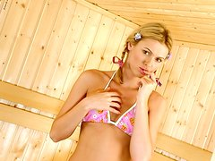 Hot Blonde Fingering and Toying Her Lovely Snatch in the Sauna