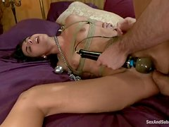 Blindfolded siren gets tied on a yoke and fucked hard