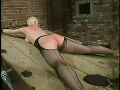 Two blonde girls get tied up and then toyed with a vibrator
