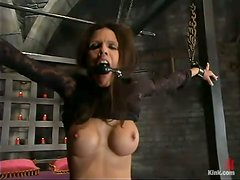Divine brunette Shy Love gets raped by her master