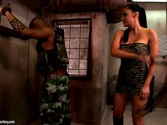 Aletta gets naked with her black lover and rides his cock