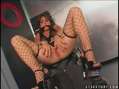 Missy Monroe the hot brunette in fishnets in hot BDSM vid