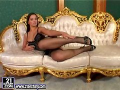 Elegant in black Eve Angel wants your attention