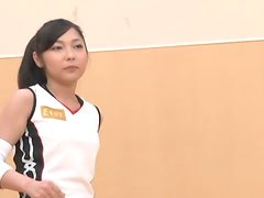 Sporty Japanese girl lets a few men play with her cute shaved pussy