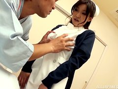 Naughty nurse  Miina Kanno is riding her patient