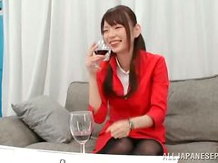 A lovely Asian lady is happy when blowing her date
