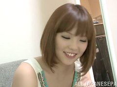 Japanese milf gives a blowjob and enjoys some tender banging