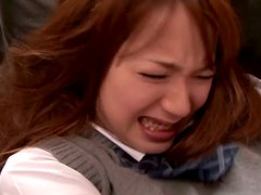 Ayaka Tomoda the hot babe in school uniform in CFNM video