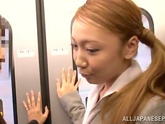 Honey givers a nice handjob in the public bus