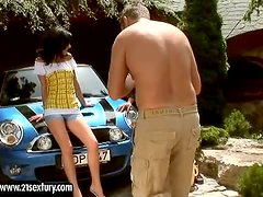 Sweet Nicole gets fucked near the car in a backyard