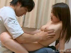 Sexy Japanese girl gives a titjob and enjoys multiposition banging