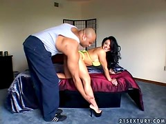 Cherokee sucks a fat black cock and gets her pussy torn up