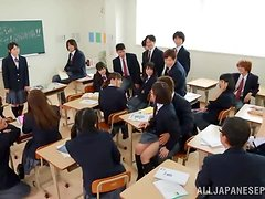The bold babe in the classroom is forced to take her uniform off
