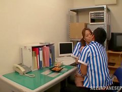 Arisa Nakano gives a blowjob to her BF at her work place