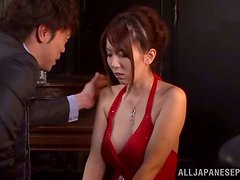 Japanese girl in red dress gives hot blowjob and handjob