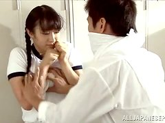 Japanese chick shows her tits and enjoys fervent rear banging