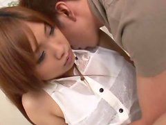 Maki Takei gets her Asian pussy toyed and fucked in missionary position