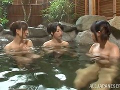 Hot tub fun with two sexy Japanese sirens