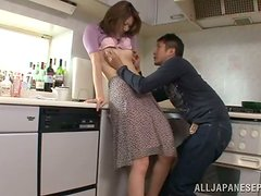 Akari Hoshino makes out with her BF and sucks his dick in the kitchen