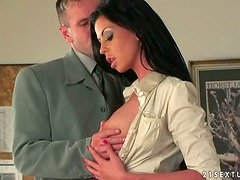 Larissa Dee the slim brunette in stockings gets ass fucked