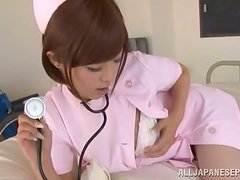 A pretty nurse in pink likes to spoil her patients