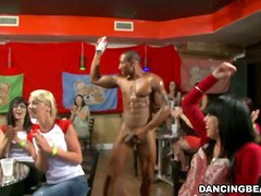 Muscular guys performs striptease and then girls suck dicks