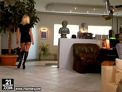 Hot Janny the blows two cocks and gets fucked hard