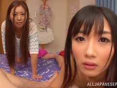 Two hot Japanese sirens are getting toyed and vibrated