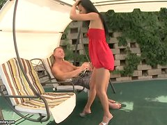 Stunning Shalina Divine gets threesomed by the pool