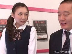 Cute Japanese schoolgril is getting nailed in the public bus