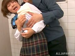 Schoolgirl gets raped in the public toilet