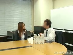 Sexy Japanese chick gets stunningly fucked on a desk in an office