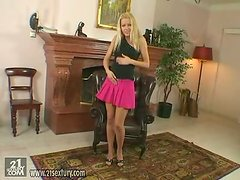 Blonde Perfection Sophie Moone Playing with Dildo on Comfortable Chair