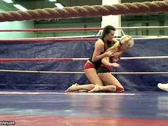 Dorina Gold & Melissa Ria wrestling and riding at Nude Fight Club