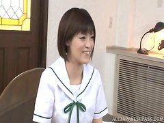 Naughty Japanese girl in uniform gets nailed in a bedroom