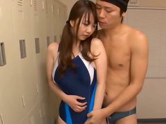 Noa Kasumi gets a cock to play with in the locker room