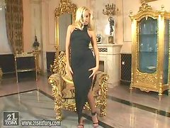 Elegant Angel Sandy in Black Dress Masturbates in Fancy Room