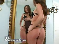 Beautiful Sandra Shine Masturbates in front of Mirror