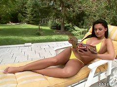 Aletta Ocean and Zafira Share Grapes and Fuck Each Other with Banana