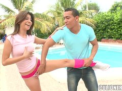 Little Latina lady banging by the pool in her complex