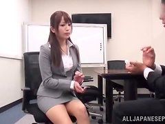 Japanese office girl enjoys some ardent banging after giving a blowjob