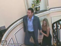 Naughty Victoria Swinger gets pounded on a stairwell