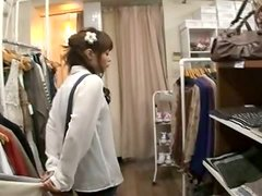 Sarah sucks a cock and gets fucked in a dressing room