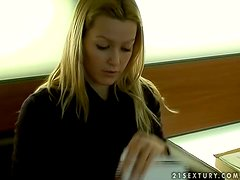Lovely Blonde Sophie Moone Opening Gifts from Her Fans