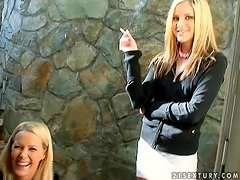 Blonde Sophie Moone in Her Backstage of Lesbian Vid with Laura King