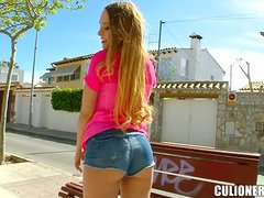 Hungarian beauty gets her pink pussy fucked outdoors
