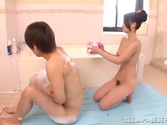 A randy amateur Asian couple get it on in the bathroom